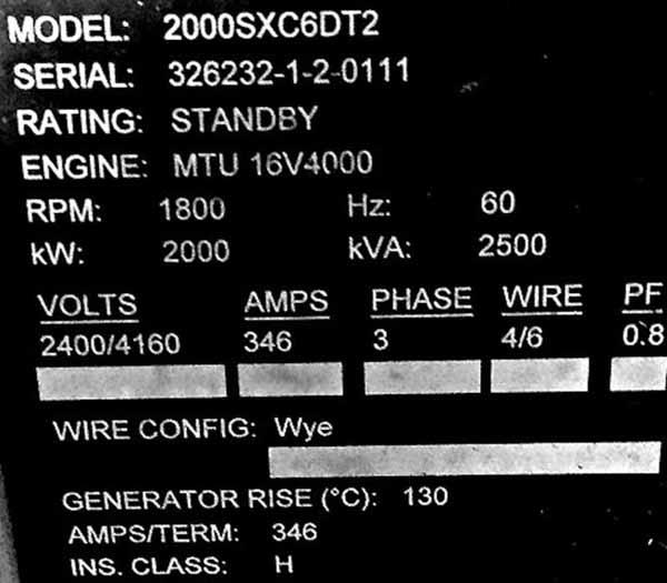 2000kW MTU SX2000C6DT2 4160V Diesel Generator